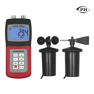 High Accuracy Air Velocity Flow Temperature Hot Wire Anemometer Wind Meter